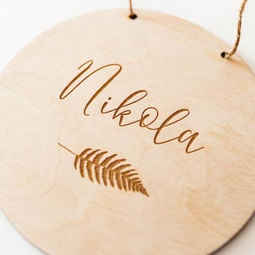 drewniana zawieszka z imieniem