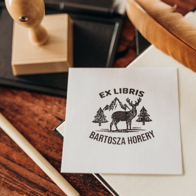 Drewniane stemple Ex Libris