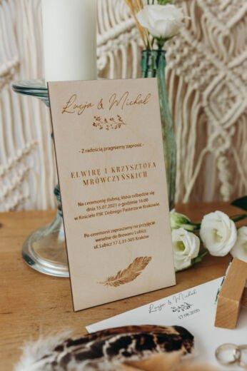 Drewniane zaproszenia ślubne